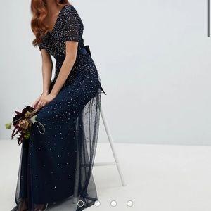 ASOS Maya V Neck Tulle Maxi Dress